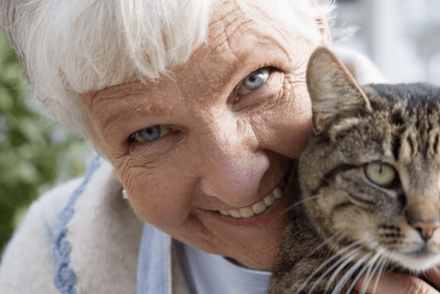 elderly care customer with cat