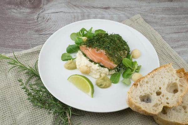 healthy lunch with salmon