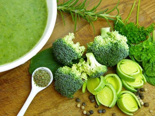 healthy soup with green vegetable